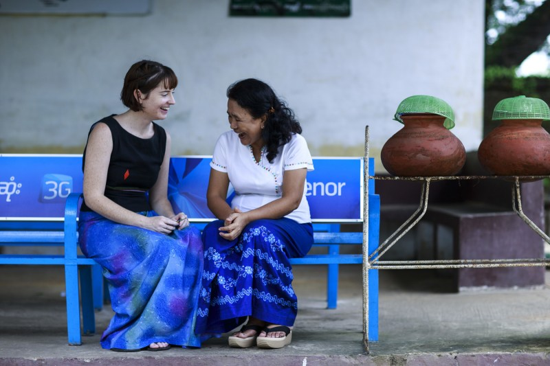San San left and Australian volunteer Kristina at their local train station in Yangon Myanmar. Both are working to improve physiotherapy for the Eden Centre for Disabled Children