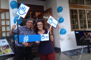Peter Devereux (left) and his wife Leigh Dix (right) outside Handicap International in Myanmar