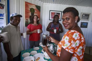 Colleagues in Papua New Guinea enjoy chatting over coffee and snacks