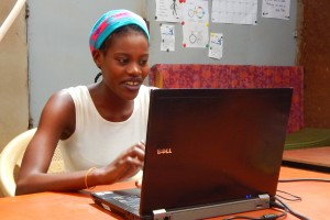 Reda using her new excel skills at Twende Innovation Centre